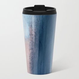 In a Blur: an abstract mixed media piece in pinks, blues, and purple Travel Mug
