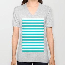 Narrow Horizontal Stripes - White and Cyan Unisex V-Neck