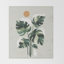 Cat and Plant 11 Throw Blanket