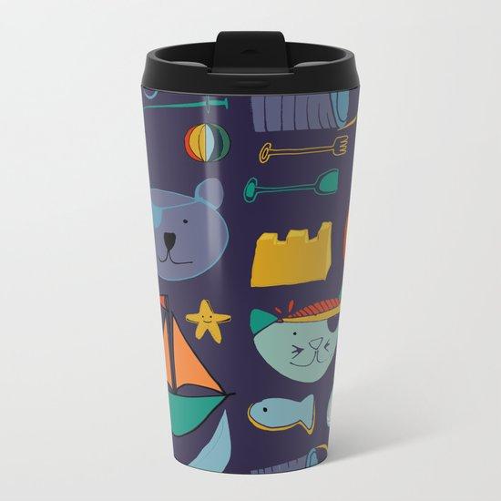 cat and bear pirate purple Metal Travel Mug