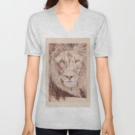 Lion Portrait - Drawing by Burning on Wood - Pyrography Art Unisex V-Neck
