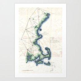 Vintage Coast of New England Cape Cod Map Art Print