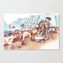 Girl Captain and her Koala Canvas Print