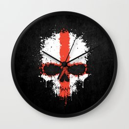 Flag of England on a Chaotic Splatter Skull Wall Clock