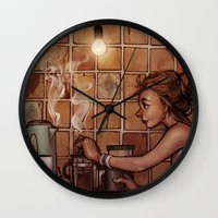 cafe Wall Clocks featuring Cafe Presse by loish