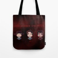 ahs Tote Bags featuring AHS Hotel: Justin by Sunshunes