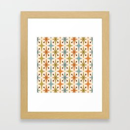 Mid Century Modern Abstract Star Pattern 441 Orange Brown Blue Olive Green Framed Art Print