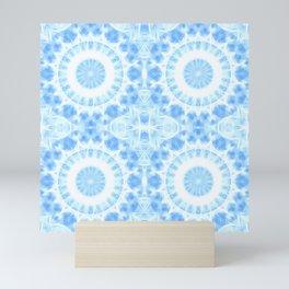 Peaceful blue mandala Mini Art Print