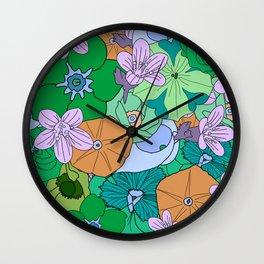 70s Flower Inferno - Green Wall Clock