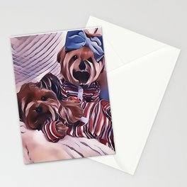 2 Yorkies Getting Ready For Bed Stationery Cards