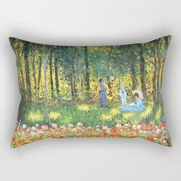 Claude Monet The Artist's Family In The Garden Rectangular Pillow