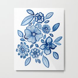 Blue Folk Flowers Metal Print