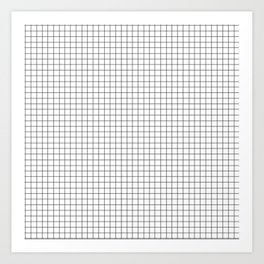 Minimal Black and White Grid Art Print