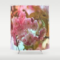 cherry blossoms Shower Curtains featuring Cherry Blossoms by Judy Palkimas