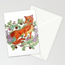 Fox in the flowers Stationery Cards