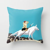 princess mononoke Throw Pillows featuring Princess Mononoke by 8-bit Ghibli