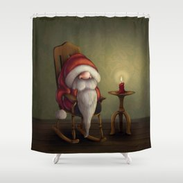 New edit: Little Santa in his rocking chair Shower Curtain