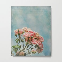 Vintage Inspired Pink Roses in Pastel Blue Sky with French Script Metal Print