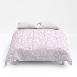 Block Print Mauve Pink and White Stars Pattern Comforters