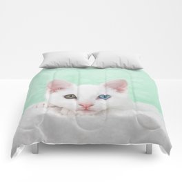 Portrait of a white kitten with heterochromia Comforters