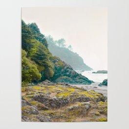 Misty Northwest Coastline Pacific Ocean Beach Nautical Decor PNW Art Beards Hollow Poster