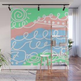 Crashing Waves - White Green Blue Wall Mural