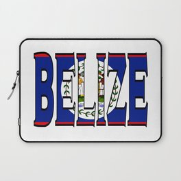 Belize Font with Belizean Flag Laptop Sleeve