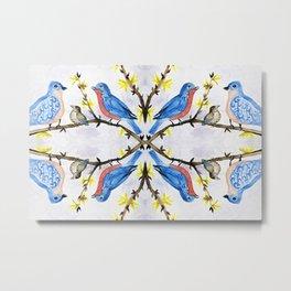 eastern bluebird watercolor painting Metal Print