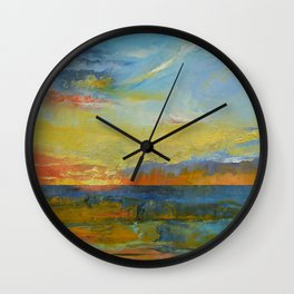Turquoise Blue Sunset Wall Clock