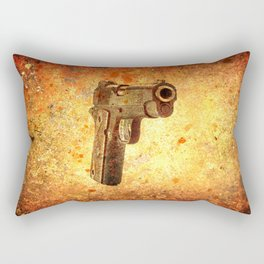 M1911 Muzzle On Rusted Background 3/4 View Rectangular Pillow