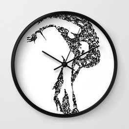 Kanji Calligraphy Art :woman's face #17 Wall Clock