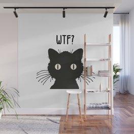 WTF - Black cat Wall Mural