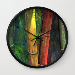 Colorful bamboo painting with gouache Wall Clock
