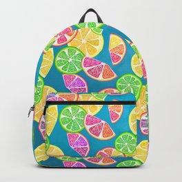 Fruit Slice Pattern on Teal Backpack