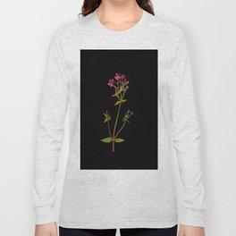 Phlox Carolina Mary Delany Vintage British Floral Flower Paper Collage Black Background Long Sleeve T-shirt