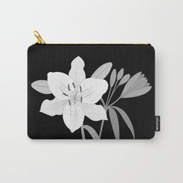 Monochrome Lilies Illustrative Art Carry-All Pouch