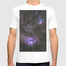 Lagoon and Trifid Nebula in Sagitarius MEDIUM Mens Fitted Tee White