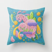 psychadelic Throw Pillows featuring Psychadelic Pink by sophie gerl