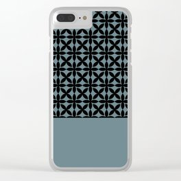 Black Square Petals Graphic Design Pattern on PPG Paint Artifact Blue Clear iPhone Case