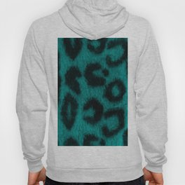Spotted Leopard Print Turquoise Teal Hoody