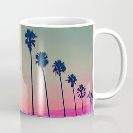 Pink Sunset, Palm Tree Silhouette Encinitas, California - Surfer Coffee Mug