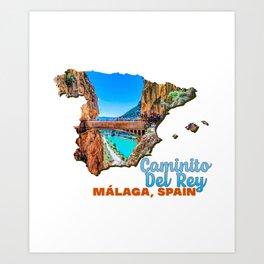 Caminito del Rey Malaga Spain El Chorro Bridge Wood Lake Water Green Tree Hill Art Print