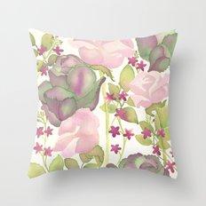 Autumn Bouquet - Kale & Rose Throw Pillow