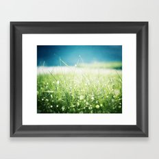 Dew Nature Photography, Green Blue Morning Dew Sparkle, Colorful Grass Photography Framed Art Print