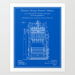 Beer Bottler Patent - Blueprint Art Print