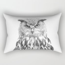 Black and white owl animal portrait Rectangular Pillow