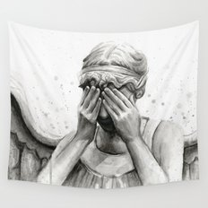 Weeping Angel Watercolor Painting Wall Tapestry