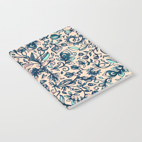 Teal Garden - floral doodle pattern in cream & navy blue Notebook