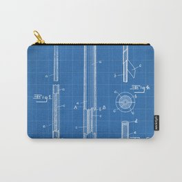 Pool Cue Patent - 9 Ball Art - Blueprint Carry-All Pouch