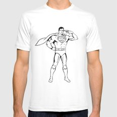 Faster Than A Speeding Bullet White Mens Fitted Tee MEDIUM